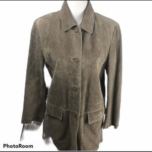 Bernardo Washable Suede Jacket Taupe size Large